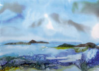 Silk Painting of a Cornish Seascape